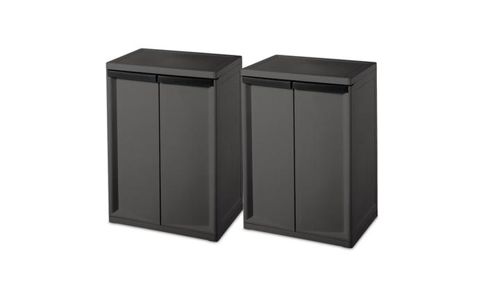 Sterilite 2 Shelf Laundry Garage Utility Storage Cabinet  sc 1 st  Groupon & Sterilite 2 Shelf Laundry Garage Utility Storage Cabinet | Groupon