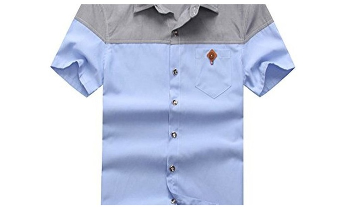 cf4b29809703 TLXC Summer Men s Casual Short Sleeve Button Down Shirts with Pocket