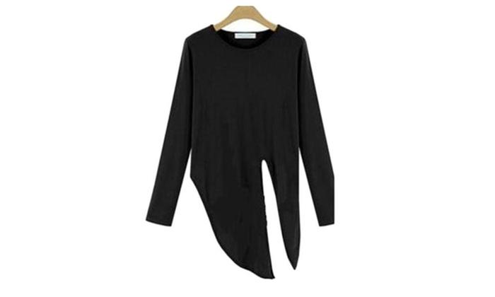 Women's Asymmetric Hem Simple Casual Blouse Pullovers
