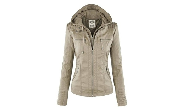 Baqitrade Womens Hooded Faux leather Jacket