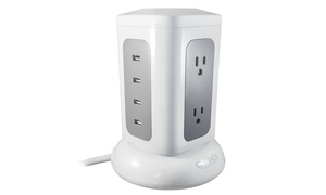 6-Outlet 4-USB Power Tower High-Rise Surge Protector