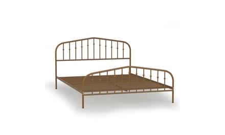 Queen size Metal Bed Frame Steel Slat Platform Headboard Bedroom Antique Brown