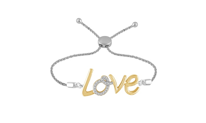 7876314068ed 1 10 cttw Round Real Diamond Sterling Silver Yellow Gold Over Love Bolo  Bracelet