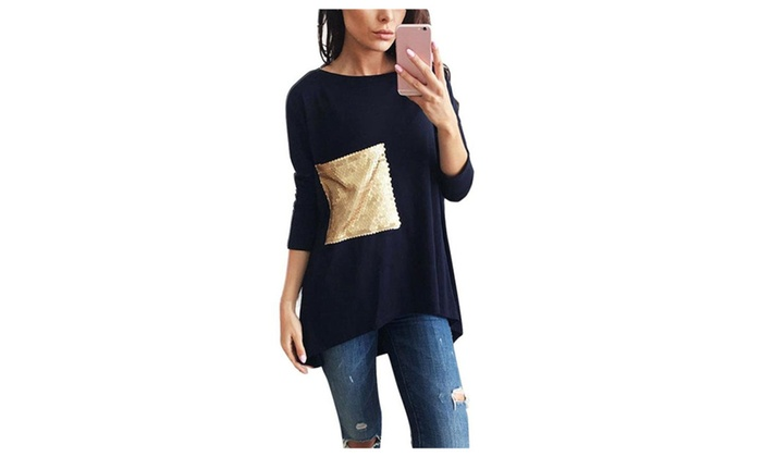 Women Patch Pockets Loose Casual Long Sleeve T-Shirt Top