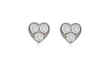 0.10 Ct Natural Diamond Heart Stud Earrings In 925 Sterling Silver