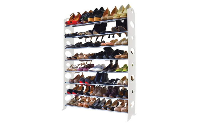 Delicieux ... W Home Adjustable And Stackable 40 Pair Shoe Rack (8 Tier)
