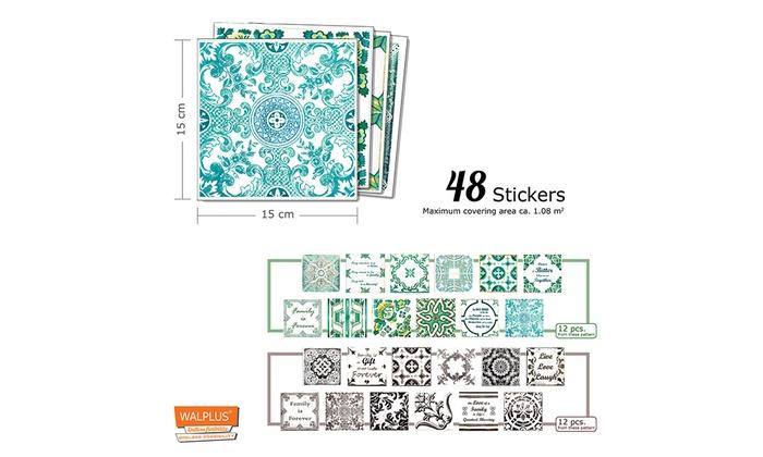 English Quote Vintage Brown Blue mix Mosaics Tile Stickers DIY Decal Size:15cm