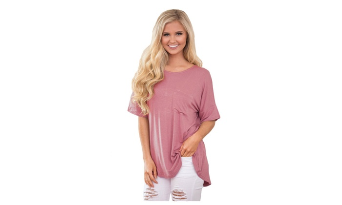 Women's Pink Chic Relaxing Fit Pocket Front Hollow-out Blouse