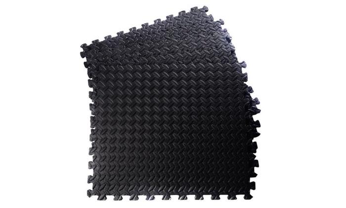 Sq EVA Foam Floor Mat Interlocking Exercise Gym Tile Black Groupon - Black and white interlocking floor mats