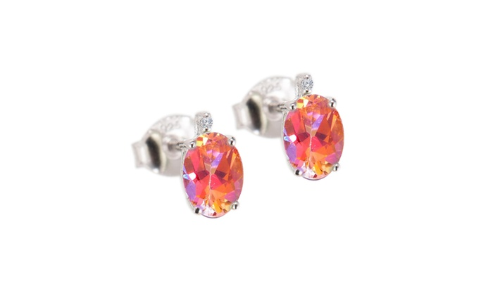 d89a3a6e7 Sterling Silver Ecstasy Topaz and White Diamond Stud Earring | Groupon