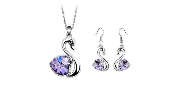 Linel: Crystal Swan Earrings and Swan Necklace Set Swan Stud Earrings