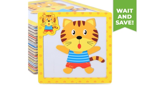Cartoon Wooden Magnetic Puzzles Jigsaw Educational Toys for Children