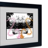 Miguel Paredes 'Pink Orange Butterflies' Matted Black Framed Art