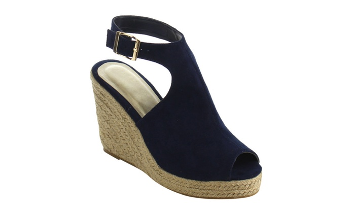 Beston IE01 Women Buckle Ankle Strap Backless Espadrille Wedge Sandals
