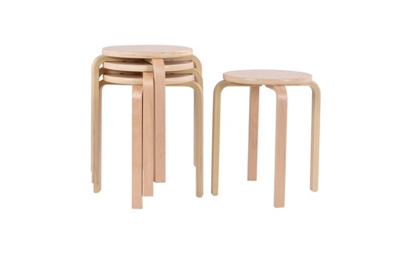 Costway Set of 4 17-inch Bentwood Stools Stacking Home Room Furniture b920d80c-76e5-465b-8217-12c71e0b154d