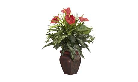 Mixed Greens & Anthurium w/Decorative Vase Silk Plant Red 18f7fe1d-4b1b-4716-81e9-a2d49b6ba0c9
