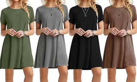 Women Dress Holiday Short Sleeve Casual T-shirt Dress Loose Summer Sundress