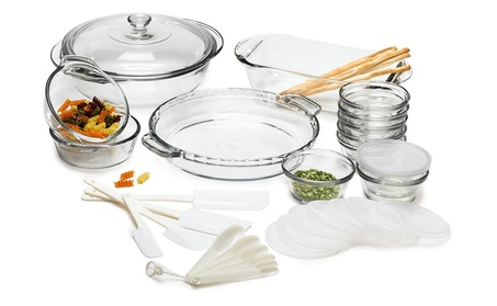 Anchor Hocking 1733 Expressions Glass Cookware, 33-Piece Set 61af6b2a-7837-424d-a939-242f3412789d