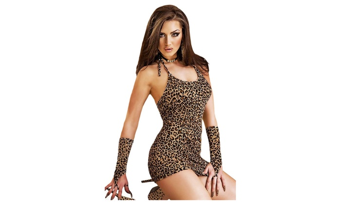 Women's Lingerie Leopard Chemise Dress With Gloves - one size