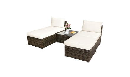 5 PC Patio Sectional Lounge Rattan Furniture Wicker Sofa Daybed