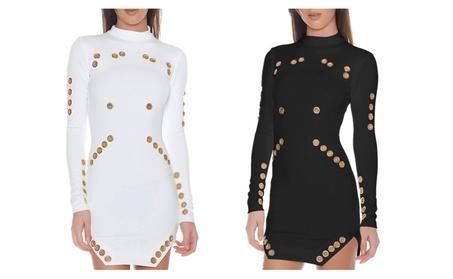 Women's Sexy Hollow Out Long Sleeve Bodycon Club Mini Dress af2367e7-9211-4948-b3dd-af59a538a455