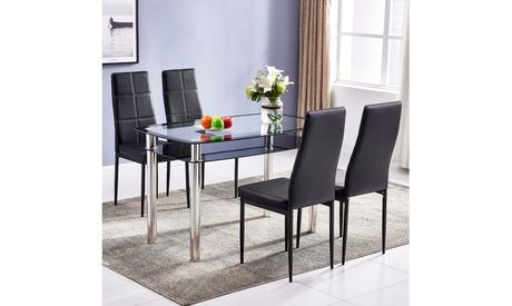 Double-Glazed Dining Table Set Cross Design w/4pcs Elegant Dining Chairs Black