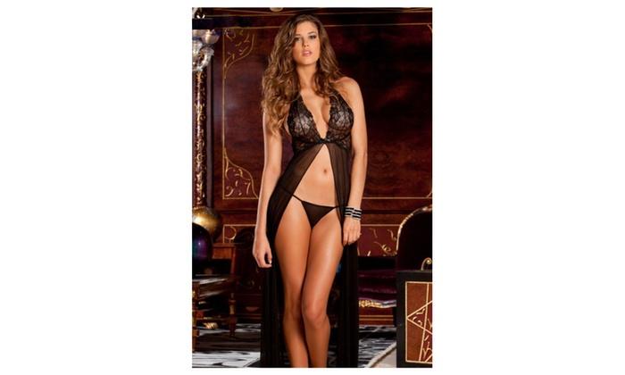 Women Long Chiffon Front Open Gown Lingerie Black - KMWL763
