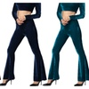 Women's Retro Wide Leg Trousers Slim Velvet Bell Bottom Flare Pants