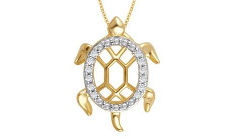 1/10 Cttw Diamond Tortoise Pendant in Sterling Silver - KK14FB0003 3bd2f838-31c9-4211-8aa8-f7bcb3049373