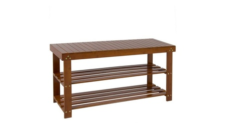 Brown Bamboo Shoe Bench 2-Tier Boot Storage Racks Shelf Organizer c9b1b7dc-36f7-4c5c-b74b-c2d888f1ff45