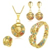 Crystal Imitated Gold Color & Bridal Colorful Wedding Jewelry Set