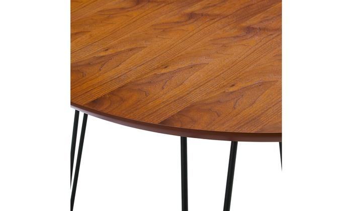 46 Round Hairpin Leg Dining Table Walnut