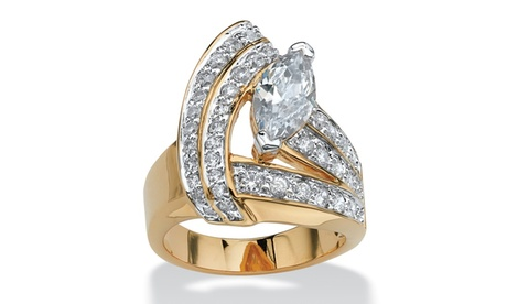 3.08 TCW Marquise-Cut Cubic Zirconia 18k Gold-Plated Wrap Ring 6e0a225b-c98c-4cef-b2ca-595c4a4db8f7