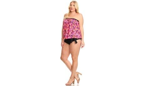 Women's Printed Plus-Size Bandeau Blouson Tie Tankini 9db30e88-726a-414a-8c77-a9e6b712a1ac