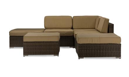 Viva 6 PC Deluxe Outdoor Patio PE Rattan Wicker Sofa Sectional Set