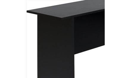 L-Shaped Corner Computer Home Office Desk Furniture- Black