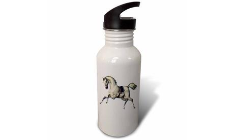 Straw Water Bottle Victorian White Horse Galloping Wearing Blue Blanket Saddle
