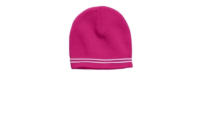 54e2969ed96 Sport-Tek STC20 Spectator Beanie Pink Raspberry   White - One Size One Size  Multi-color Label original.jpg 100% acrylic