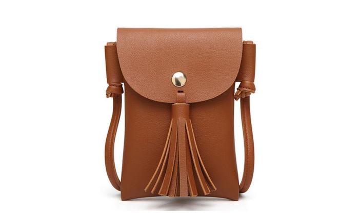 1e1c386d0c9b Womens Tassel Leather Crossbody Cell Phone Wallet Purse Bag