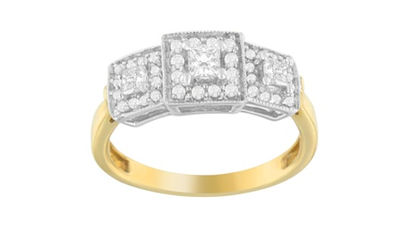 14K Gold 0.50 ct. TDW Round and Princess Cut Diamond Ring (H-I,SI2-I1) 86fd6f0c-d596-4674-864d-b55edad4a569