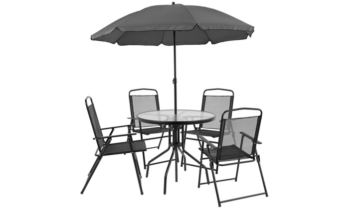 nantucket 6 piece patio garden set with table umbrella and 4 folding chairs - Umbrella Patio