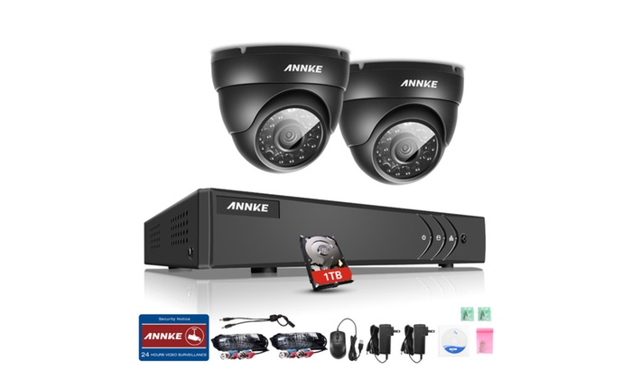 ANNKE HD 4CH DVR Video Security System with 2 Cameras Dome 720P & 1 TB