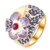 Micro Pave Genuine Elements Austrian Crystal Enamel Flower Ring