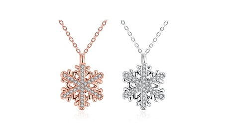 6b1fe648a 18K Gold Plated White Swarovski Elements Snowflake Necklace - Two Colors  (Goods Jewelry & Watches