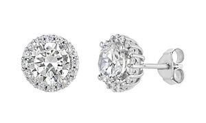 Sterling silver cubic zirconia halo stud earrings