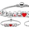 Emoji Charm Bracelets in 18K White Gold Plating