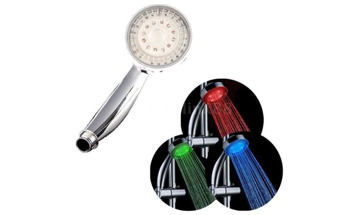 Adjustable 3 Color Led Shower Head Temperature Sensor Bath Sprinkler