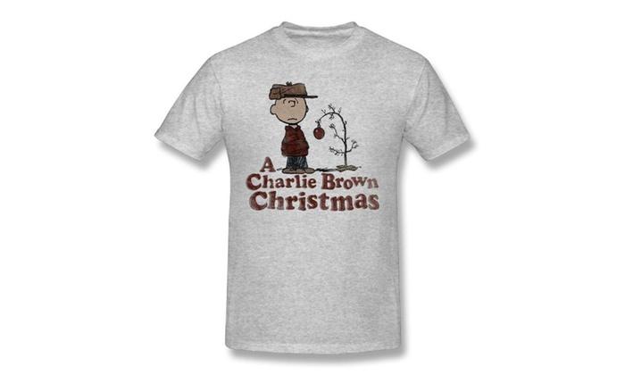 peanuts mens t shirt a charlie brown christmas sad charlie and tree - Peanuts Christmas Shirt