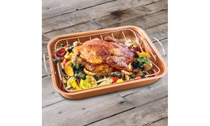 Copper Roaster Pan with Removable Rack (2 piece set)