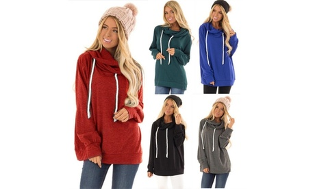 Autumn and Winter Women's Casual Loose Drawstring Hooded Sweater